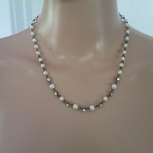 Rhinestone and Faux Pearl Necklace